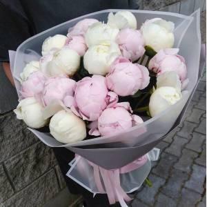 Букет 19 пионов белые и розовые с оформлением R1096