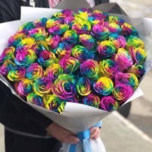 51 радужная роза с лентами R812